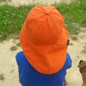 Chapeau de soleil anti-ondes enfant orange (dos)
